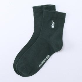 靴下 レディース はき口ゆったりロークルー丈ソックス(ミイワンポイント刺しゅう) 「チャコール」
