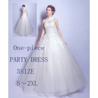 立襟 花柄 刺繍 Aライン ロング ドレス きれいめ 清楚 ウェディング 体型カバー 結婚式 ブライダル 大きいサイズ