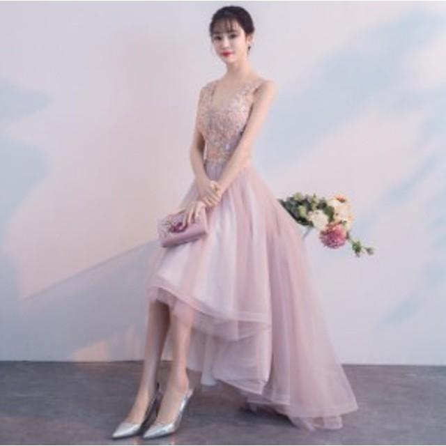 花柄 刺繍 Vネック フリル フィッシュテール ワンピース 可愛い きれいめ オルチャン パーティ 結婚式 大きいサイズ