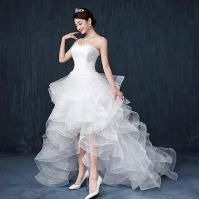 2ef52d8e48684 トレーンドレス前ミニウェディングドレス二次会ドレス花嫁ウエディングドレス結婚式フォーマルドレス発表