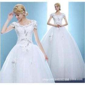 c70cd9a2b9ece 特価激安安い花嫁ドレスウェディングドレス二次会ウエディングドレス編み上げレース刺繍二次会ドレスロング