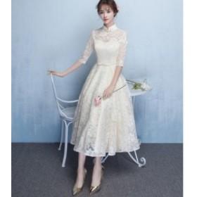 立襟 花柄 レース ウエスト リボン フレア ロング ワンピース 可愛い 上品 オルチャン 結婚式 お呼ばれ 大きいサイズ