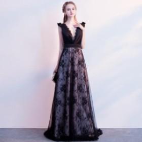 Vネック イブニングドレス ノースリーブ フォーマルドレス フェミニン ロングドレス パーティー 姫系 舞台 宴会