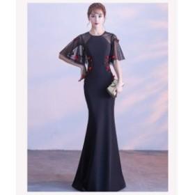 シースルー 花柄 刺繍 タイト マーメイド ロング ワンピース 可愛い 上品 オルチャン 黒 結婚式 お呼ばれ 大きいサイズ