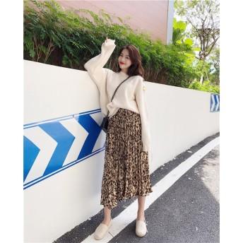2018新品 大人気 韓国ファッション CHIC気質 レトロ レオパード プリーツスカート