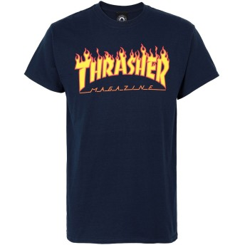 《期間限定セール開催中!》THRASHER メンズ T シャツ ダークブルー S コットン 100% FLAME T-SHIRT