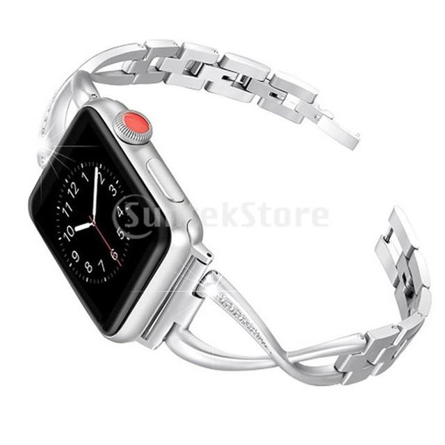 腕時計メタルバンドラインストーンストラップアップルウォッチ(42ミリメートル/ 44ミリメートル)