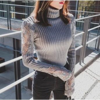 袖レース 刺繍 タートルネック リブニット ハイネック ニット セーター t0056