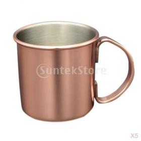 5個セット ステンレス鋼製 旅行 野外 アウトドア キャンプ用 マグカップ 旅行カップ 携帯ポット コーヒー お茶 お水 軽量
