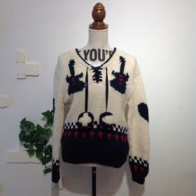 【手編み】ギター柄セーター