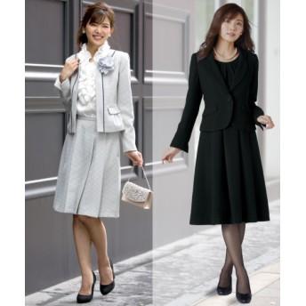 セレモニースーツ 4点セット ツィード調(ジャケット+スカート)+ジャケット+ワンピース(コサージュ リボン付)