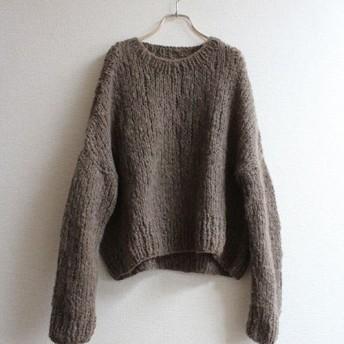 手編みモヘアショートセーター カーキブラウン