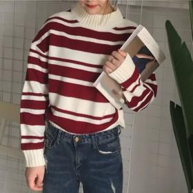 ニット・セーター - DearHeart ★トレンドファッション♪ボーダー柄セーター★2018秋冬新作 韓国ファッション