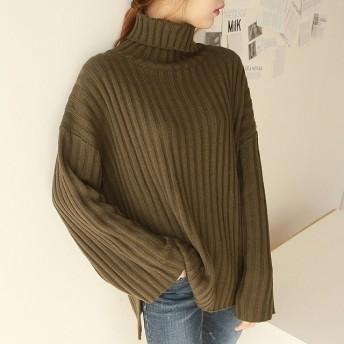 トレンド 売れ筋 おすすめ ニット セーター リブ タートルネック ゆったり ざっくり スリット シンプル hf00549