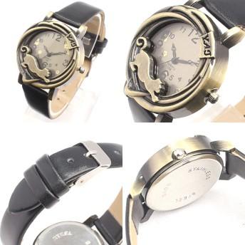 時計 - 腕時計アパレル雑貨小物のSP アンティーク調立体フェイス 黒猫デザインのカジュアルデザインウォッチ ねこ ネコ cat 全5色 革ベルト レザーベルトSPST021 レディース腕時計