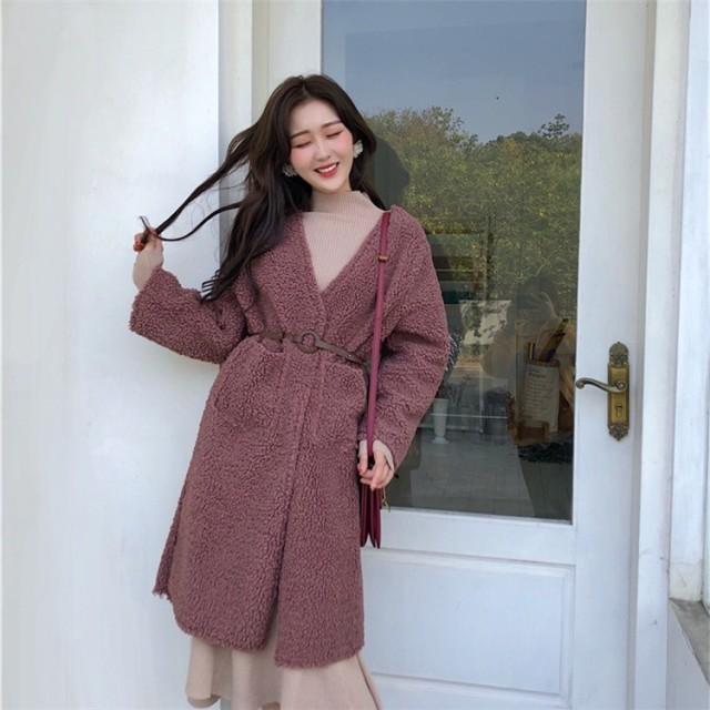 新作追加 高品質で 正規品 韓国ファッション Vネック ボアロングチェスターコート