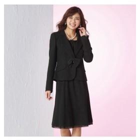 ラメ入変り織スーツ 蓄熱裏地使用 ジャケット+スカート(胸当て リボンブローチ付)