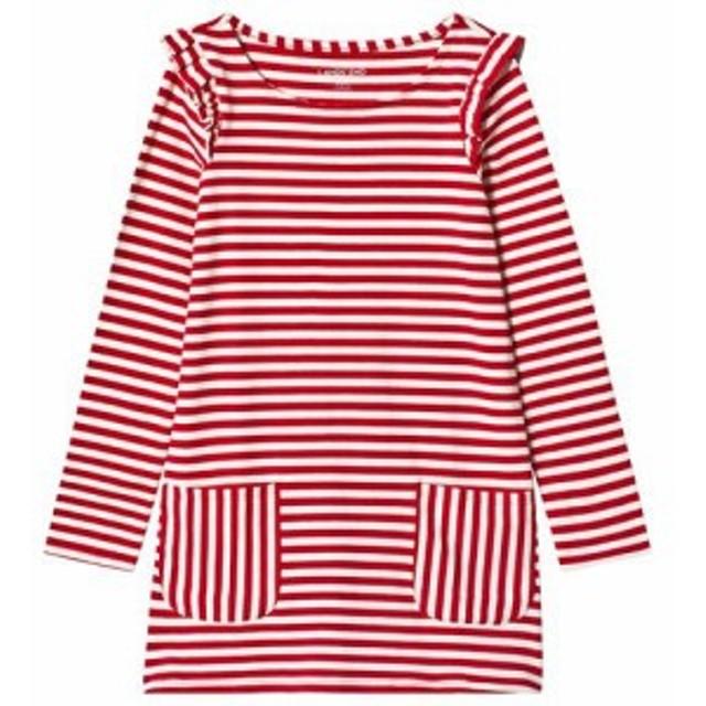 ランズエンド ドレス パーティドレス キッズ 女の子【Lands End Red Stripe Ruffle Dress】