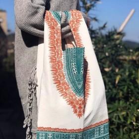 軽量の緑色の買い物袋アフリカの立体プリント綿布「限定」