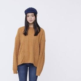 クルーネックケーブルニットセーター / モカ