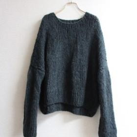 手編みモヘアショートセーター ブラック