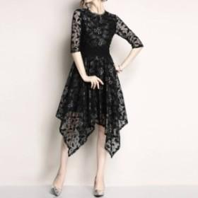 花柄レースドレス 4color 大きいサイズ ウエストマーク 半袖 五分袖 上品 ミモレ丈 フレア ゲスト パーティー 二次会 お呼ばれ fs0042