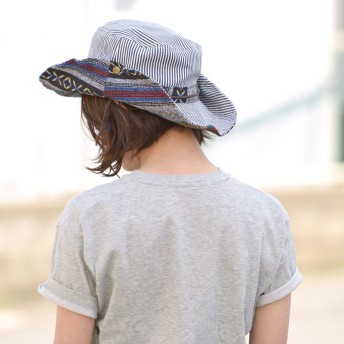 キャスケット - ゆるい帽子CasualBoxレディース 日よけ帽子 uv 帽子 レディース メンズ アウトドア 春夏 紫外線対策 ツバ広 ハット テンガロン2way商品名:エスニックアドベンチャーハット