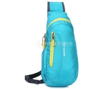 通気性 快適 アウトドア スポーツ ショルダーバッグ キャンプ ハイキング バックパック スリング ポーチ バッグ 全6色 - ブルー