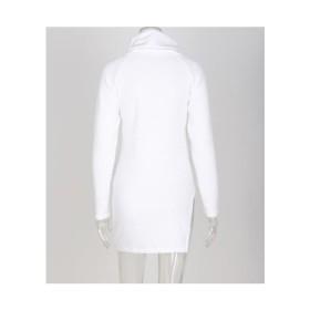 【ホワイト】S ワンピース タートルネック レディース チュニック タイト 薄手 長袖 ハイネック