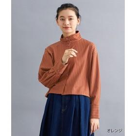 メルロー ストライプハイネックシャツ レディース オレンジ FREE 【merlot】