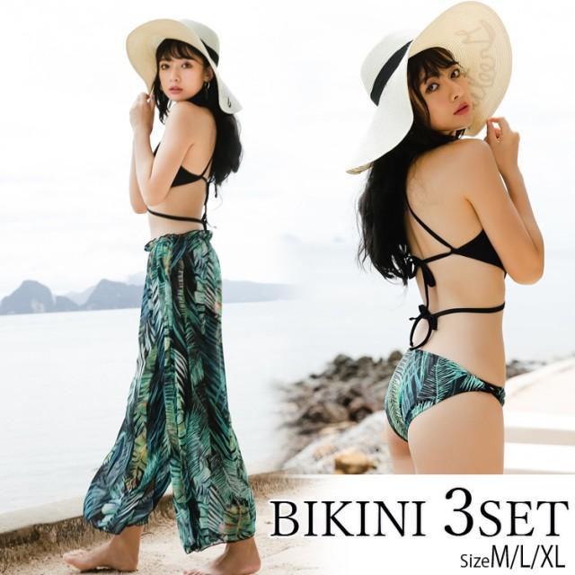 水着ビキニ3点セット水着 3点セット 3点セット水着 セット水着 花柄水着 ハイネック スカート付き かわいい 洋服風 露出控えめ 海 プール ビーチ
