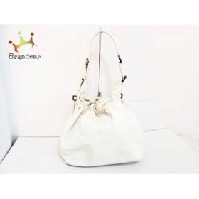 バーバリープローサム ショルダーバッグ 白×アイボリー 巾着型 PVC(塩化ビニール)×レザー       スペシャル特価 20191002