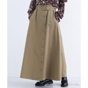 メルロー ウエストベルトフロントボタンマキシスカート レディース ベージュ FREE 【merlot】