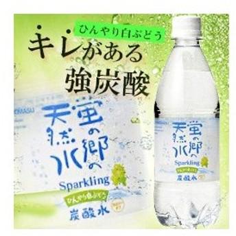 友桝飲料 蛍の郷の天然水スパークリング ひんやり白ぶどう 500mlペットボトル×24本入