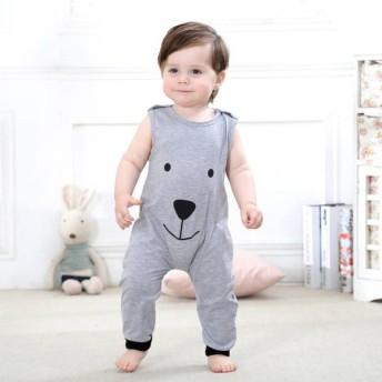 カバーオール ロンパース 赤ちゃん ベビー キッズ ベビー服 ノースリーブ 長ズボン 肩ボタン 無地 アニマル プリント ラウンドネック グレー 可愛