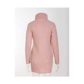 【ピンク】S ワンピース タートルネック レディース チュニック タイト 薄手 長袖 ハイネック
