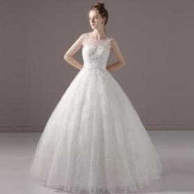 Aライン/ウェディングドレス/ウエディングドレス/ロングドレス/ノースリーブ/編み上げ/ホワイト/S~XL/wd67m