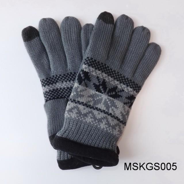【販促特売】メンズ スマホ対応 ニット手袋 グローブ フリースボア裏GKS10-AGG Homes