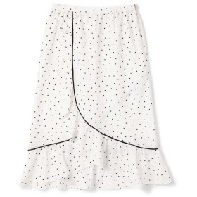 ローズバッド ROSE BUD ラッフルフリルラップドットスカート ホワイト 【税込10,800円以上購入で送料無料】