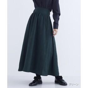 メルロー フラワー織り柄ギャザースカート レディース グリーン FREE 【merlot】