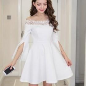 【f0635】ワンピース ドレス パーティー 結婚式 レディース オフショルダー Aライン ホワイト レッド ブラック