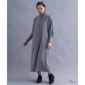 メルロー ストライプハイネックシャツワンピース レディース グレー FREE 【merlot】