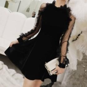 ベロアのミニ丈ドレス 透け感 シースルー袖 長袖 レース フレア 上品 エレガンス ゲスト パーティー 二次会 お呼ばれ 同窓会 fs0065