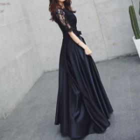 【f0629】ワンピース ドレス パーティ レディース ロング Uネック ブラック 結婚式 お出かけ