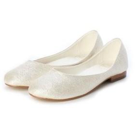 マイワリサ mywarisa 型押しフラットパンプス (White)