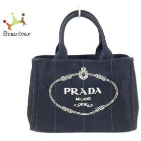 プラダ PRADA トートバッグ CANAPA 黒×アイボリー キャンバス  値下げ 20190109