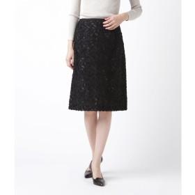ニューヨーカー NEWYORKER フラワーカットジャカード Aラインスカート (ブラック)