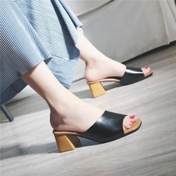 サンダル レディース スリッパ ヒールサンダル シューズ 夏 靴 ミュール 女性 美脚 おしゃれ 通勤 太ヒール ハイヒール 歩き