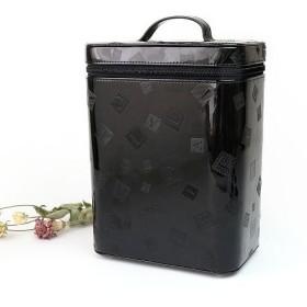 カッズ メイクボックス 縦型 大容量 エナメル コスメ収納 収納ボックス 縦長 バニティバッグ レディース ブラック F 【KAZZU】
