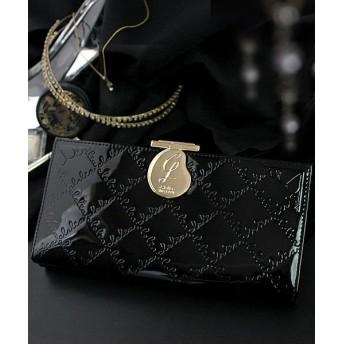 カッズ 長財布 レディース がま口 大容量 ブランド エナメル フラップ がま口長財布 レディース ブラウン F 【KAZZU】